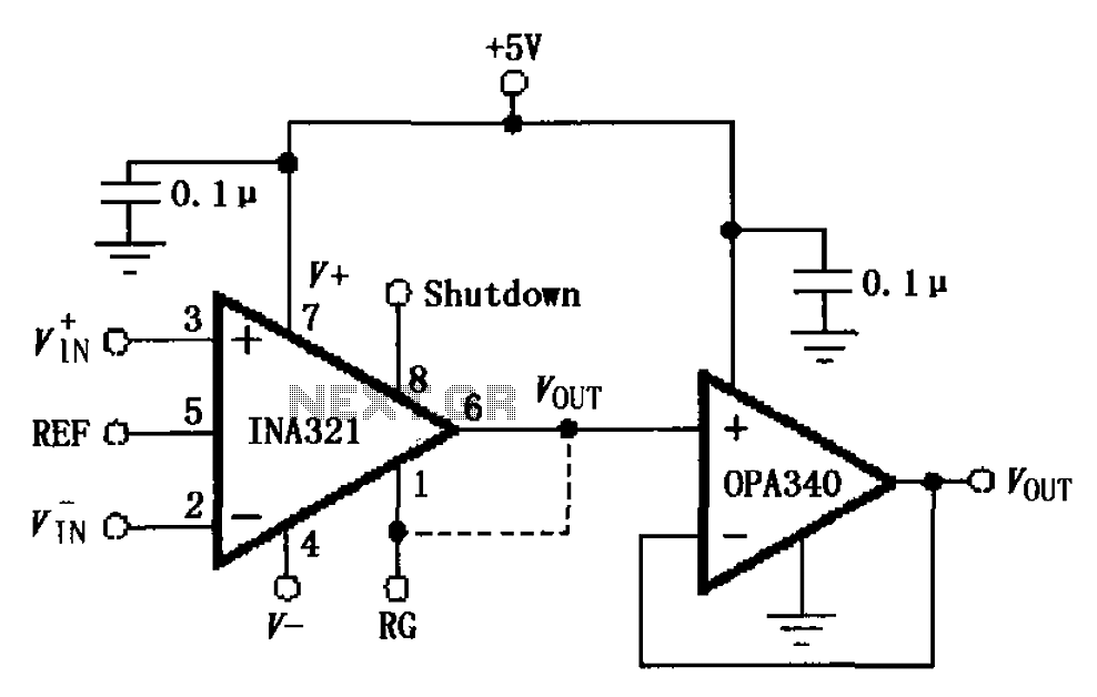 INA321 OPA340 composed output buffer circuit 322 - schematic