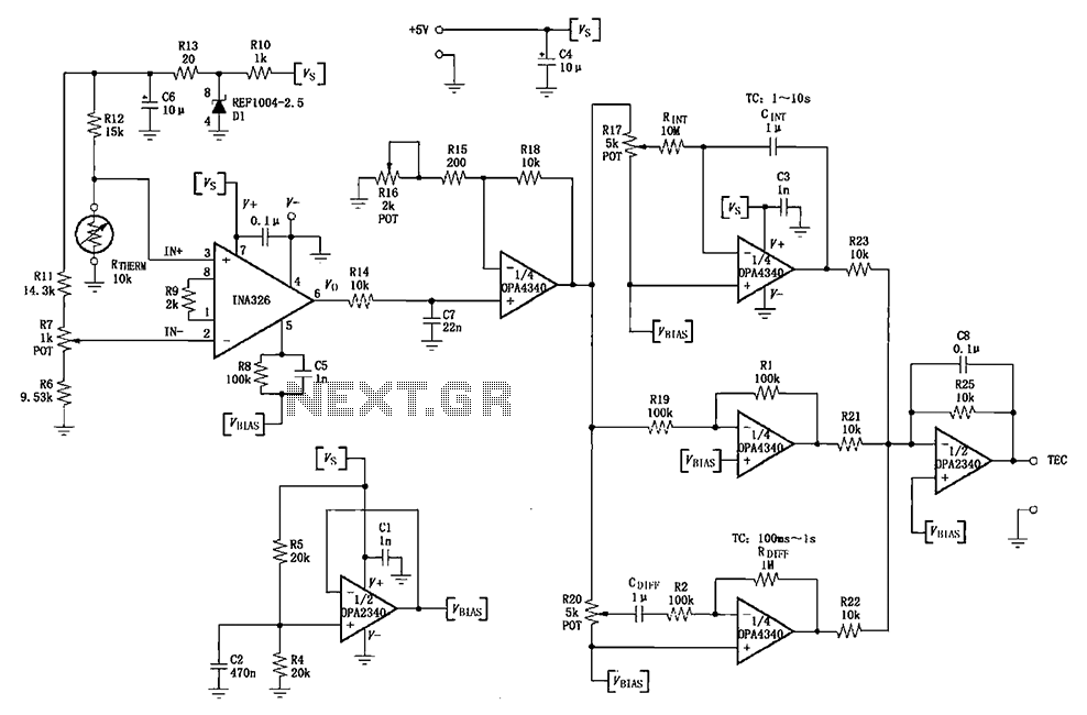 INA326 327 a single power PID Proportional - Integral - Derivative temperature control loop circuit - schematic