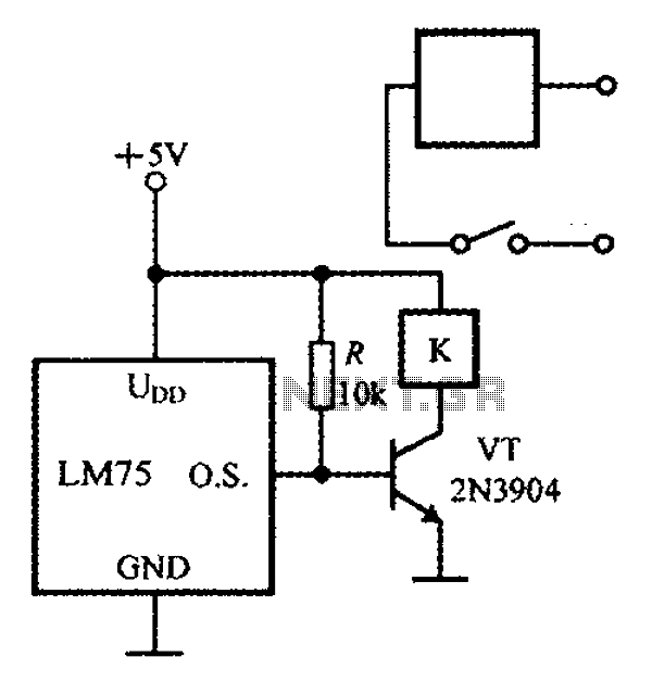 Intelligent thermostat temperature sensor LM75 circuit diagram consisting - schematic