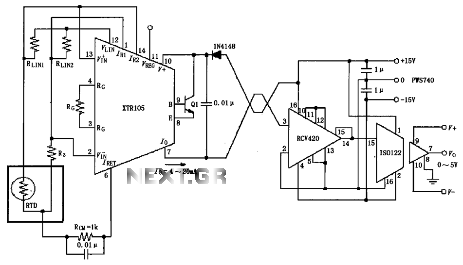 Isolated send receive ring circuit diagram XTR105 RCV420 - schematic