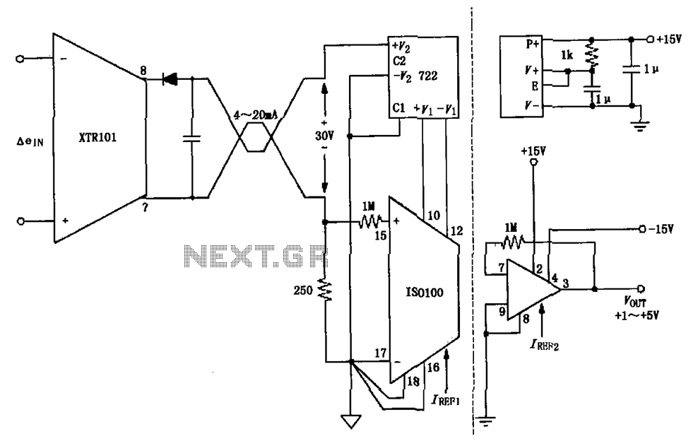 Isolated two-wire current loop circuit diagram XTR101 ISO100 : Other ...