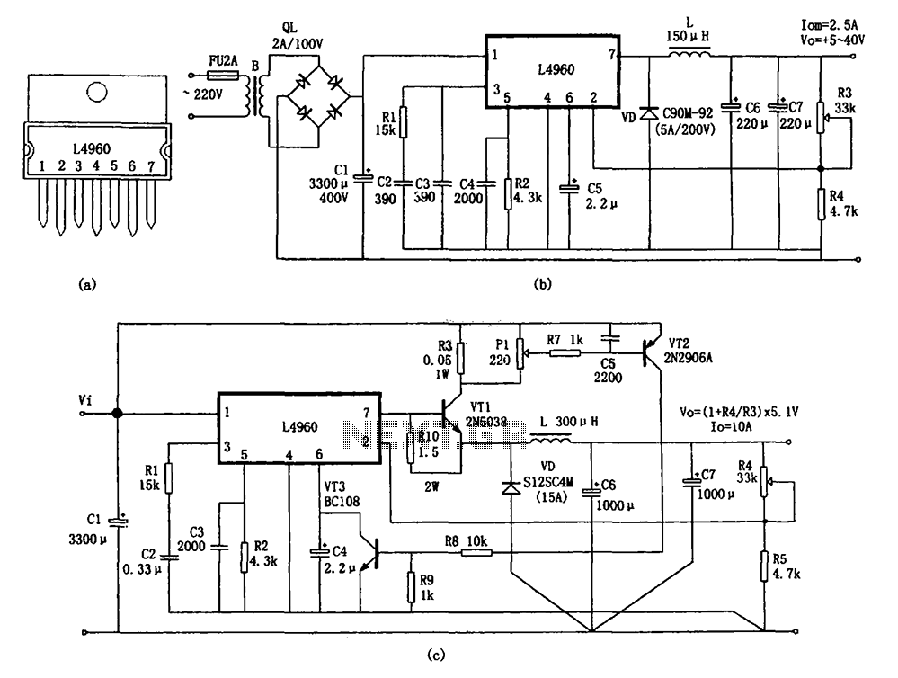 L4960 by a monolithic switching power supply - schematic