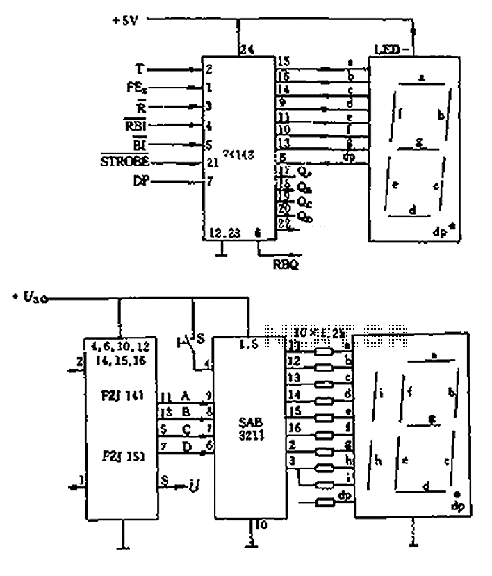 LED display control circuit diagram of a counter - schematic