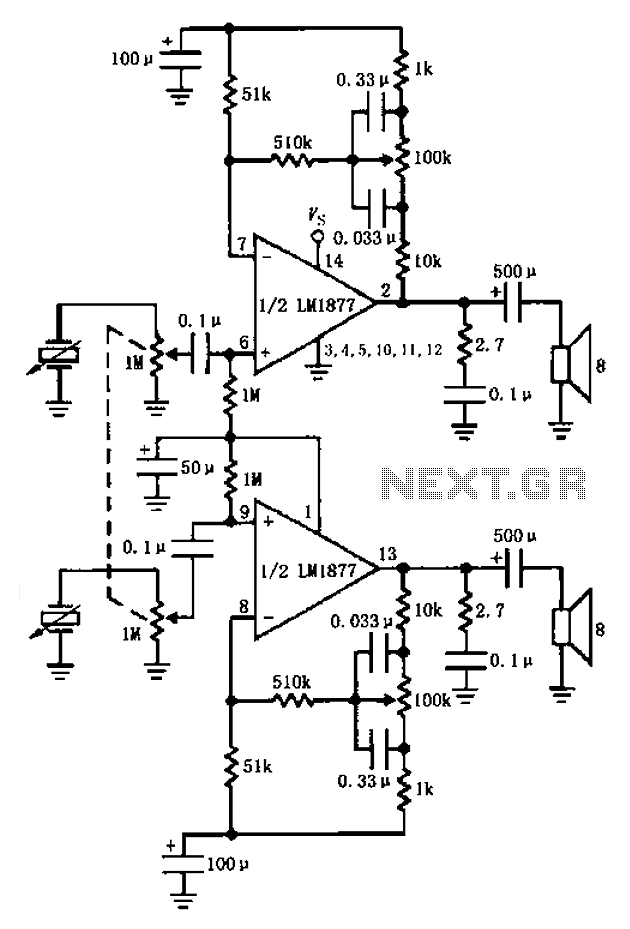 LM1877 amplifier having a control circuit diagram of the bass - schematic