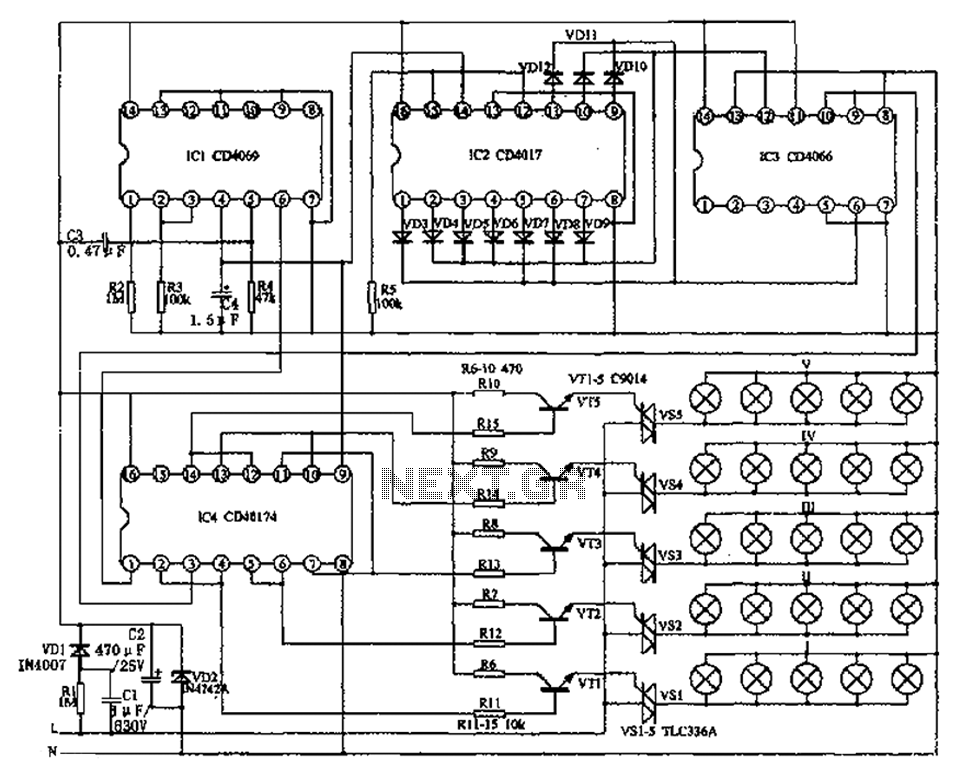 Lantern controller circuit diagram of a two-dimensional - schematic