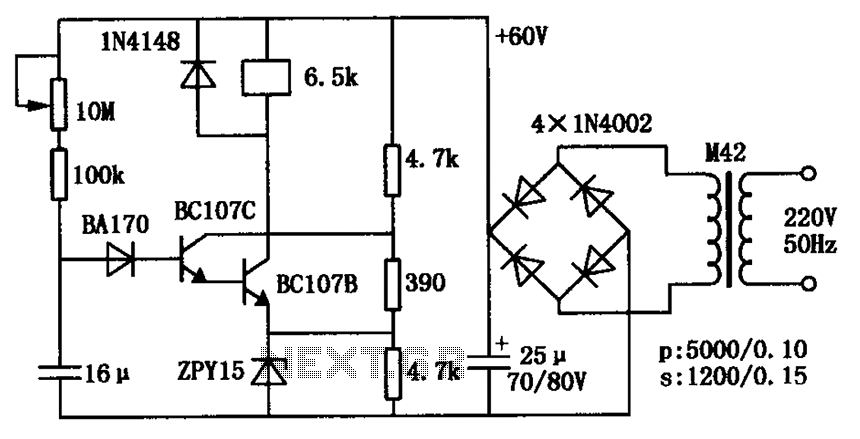 Length 1 minute delay relay pull transistor circuit diagram - schematic