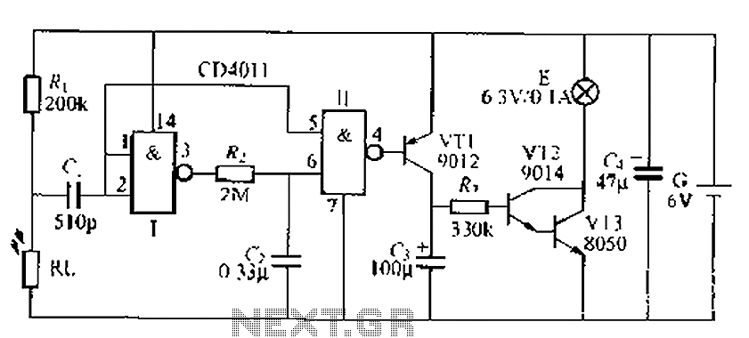 Light control delay circuit 4 - schematic