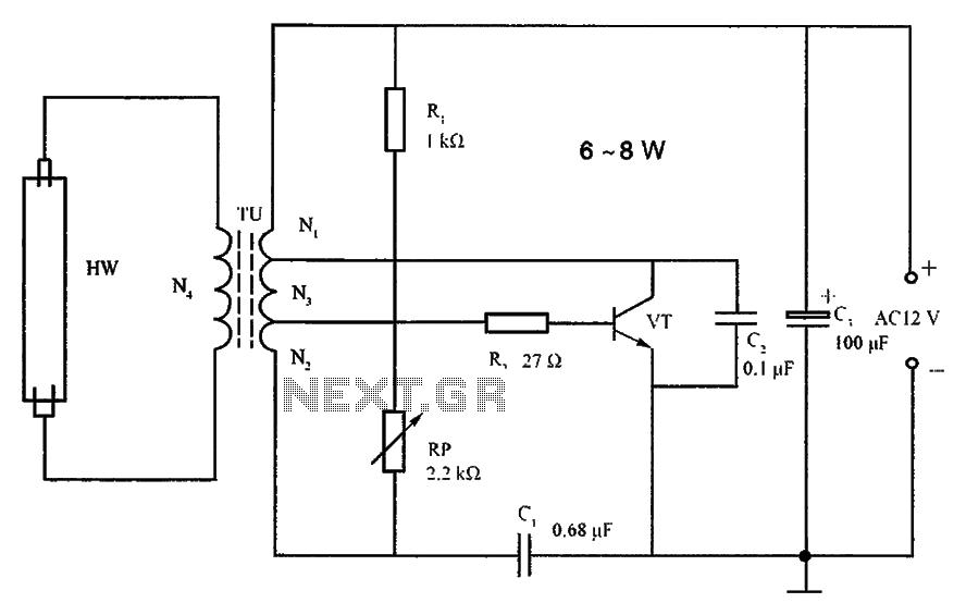 Lighting inverter circuit principle 6 ~ 8W fluorescent - schematic