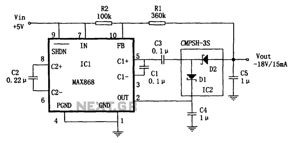 MAX668 inverting configuration quadruple pressure DC DC converter power supply - schematic