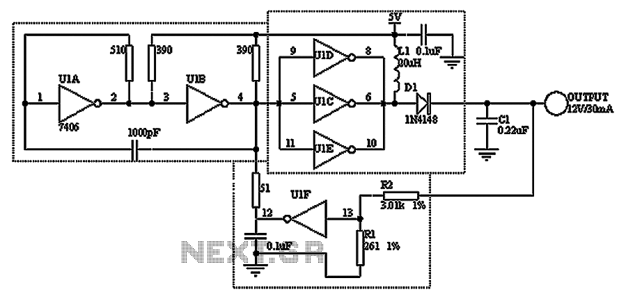 Made with hex inverter DC DC converter circuit - schematic