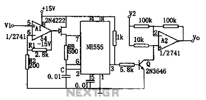 NE555 circuit diagram of a divider circuit - schematic