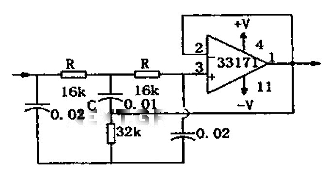 audio > audio filters > notch filter circuit diagram mc33171, Wiring circuit