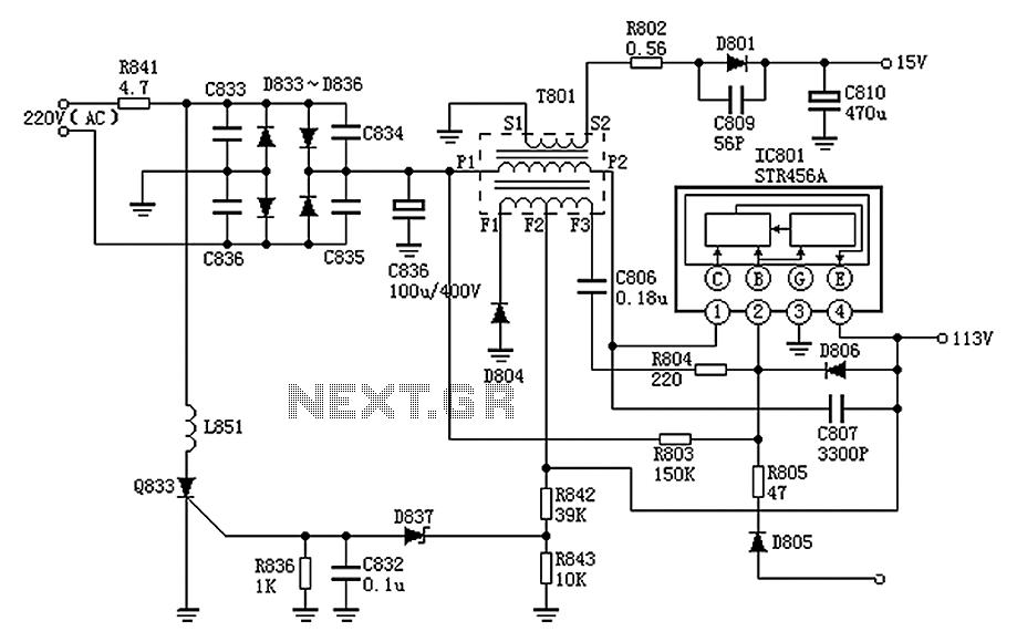 Panasonic M12H switching power supply circuit diagram - schematic