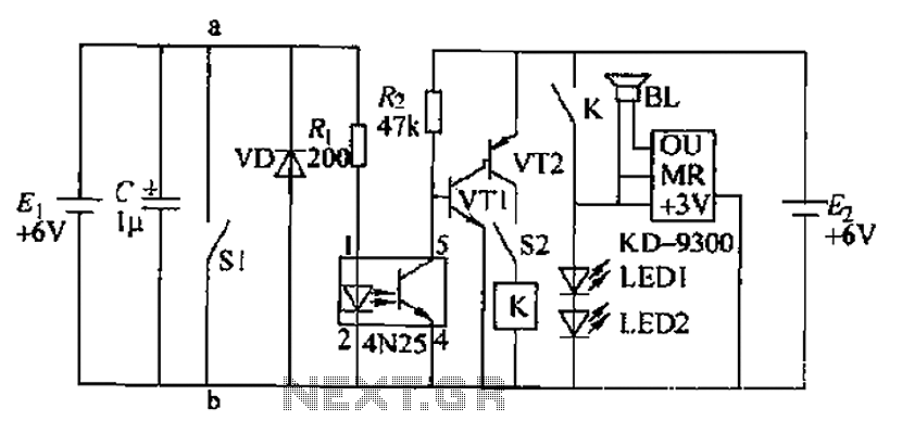 Photoelectric control circuit lullaby - schematic