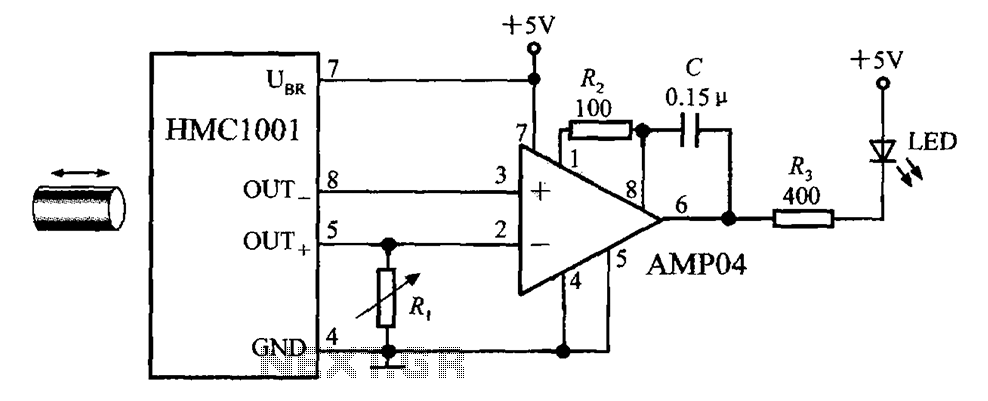 Proximity switch integrated circuit composed of the magnetic field sensor HMC1001 - schematic
