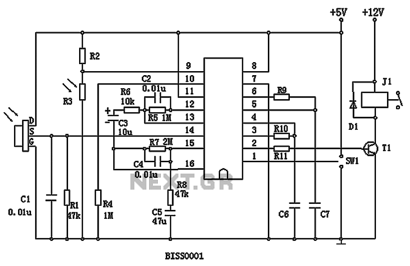 Pyroelectric infrared processing chip BISS0001 and pyroelectric elements D204B - schematic