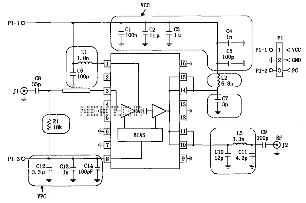RF2132 linear power amplifier circuit diagram - schematic