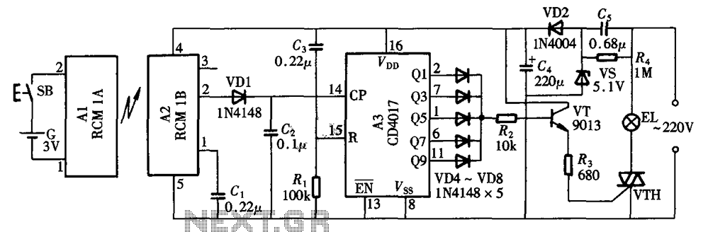Radio remote control lighting switch CD4017 RCM1 schematic - schematic