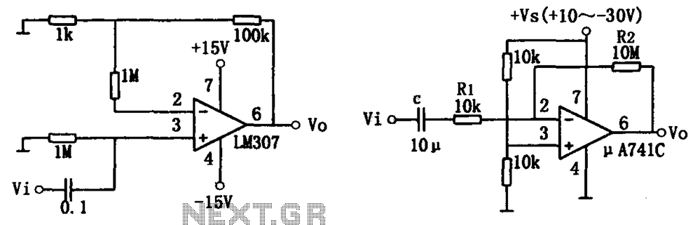 Simple audio amplifier LM307 A741 - schematic