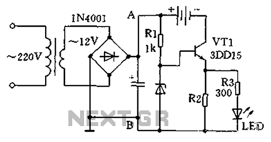 Single-tube constant current charger circuit - schematic