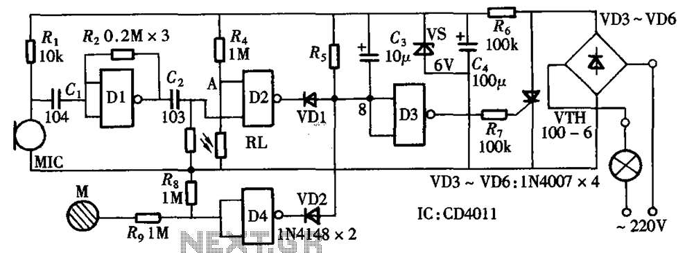Sound and light control touch delay saving switch integrated circuit diagram - schematic