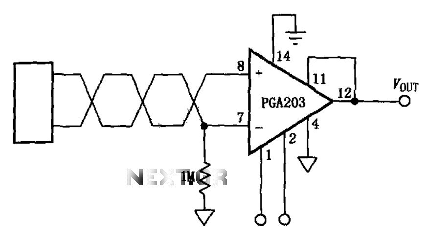 Source suspended programmable instrumentation amplifier PGA203 - schematic