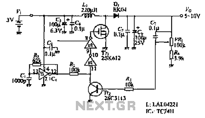 Step-up switching power supply circuit diagram - schematic