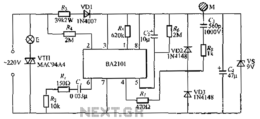 Stepping BA2101 touch dimmer light circuit - schematic