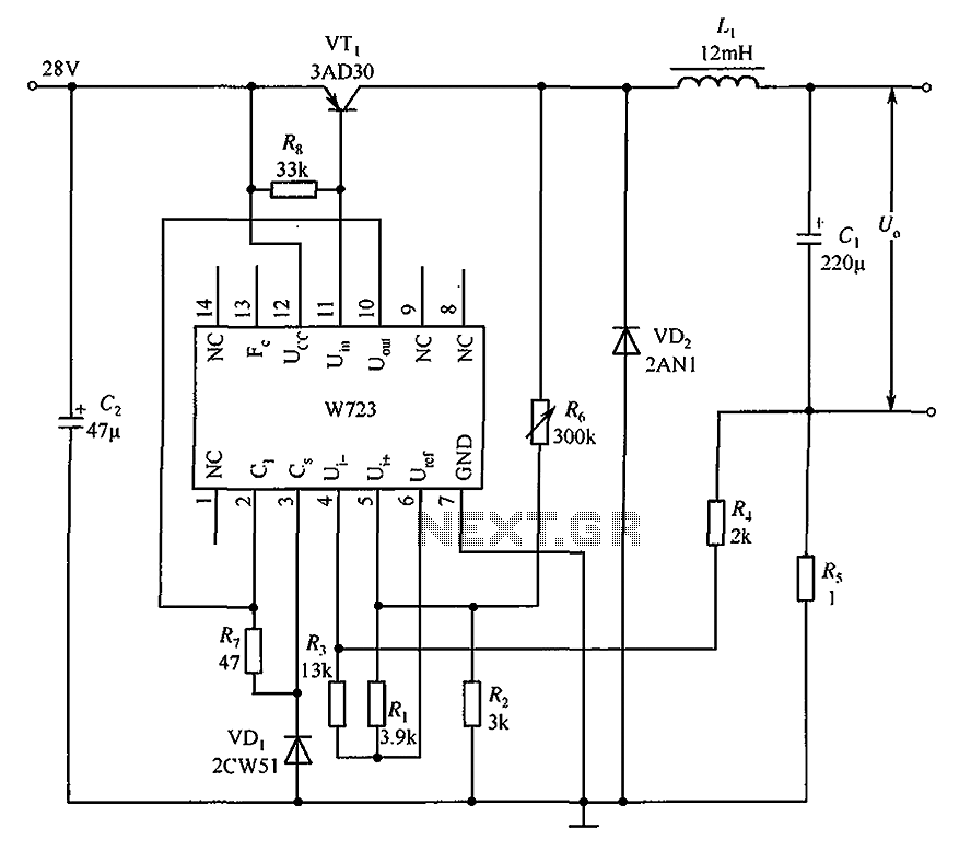 Switching the constant current source consisting of the application circuit W723 - schematic