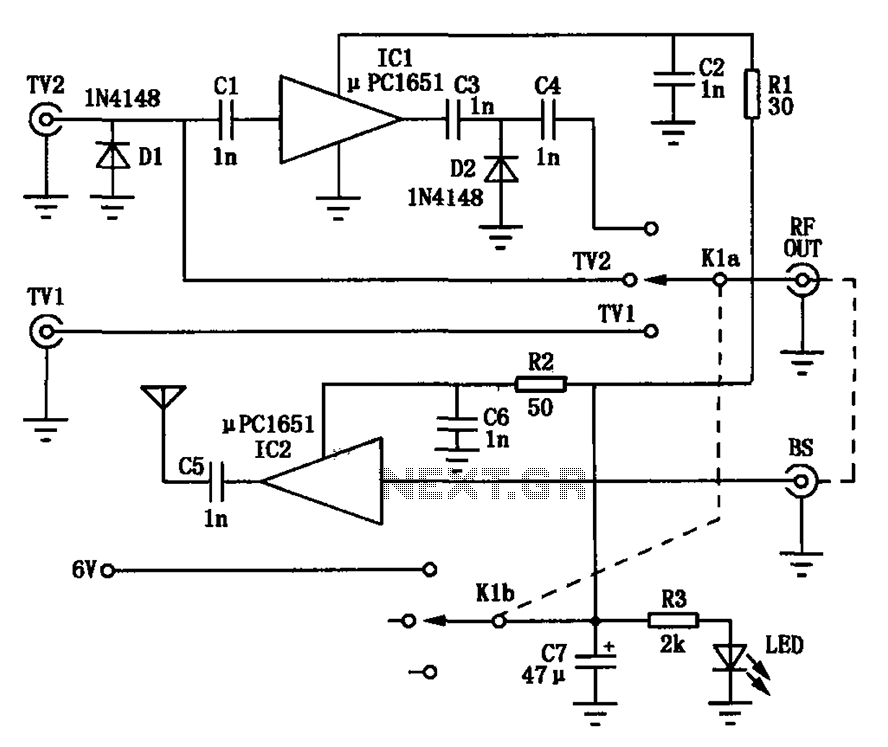 TV signal amplifying circuit diagram conversion - schematic