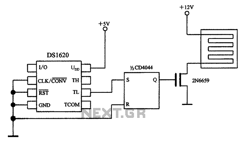Temperature control circuit diagram with three-wire serial interface smart temperature sensors DS1620 - schematic
