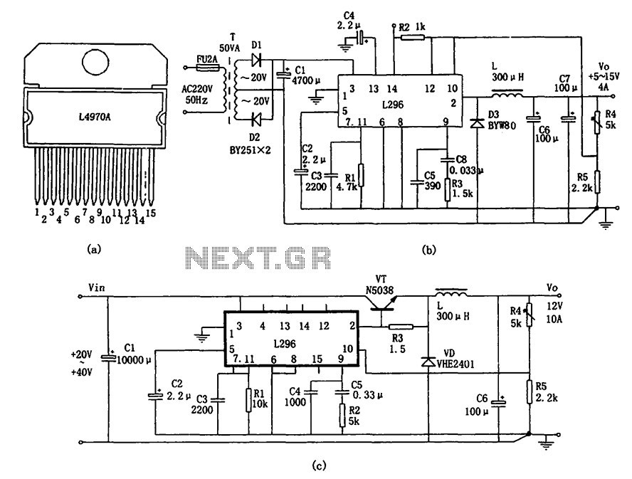 The L296 chip high current switching power supply chips for power supply - schematic