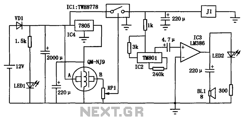 The driver alcohol detection alarm controller circuit diagram - schematic