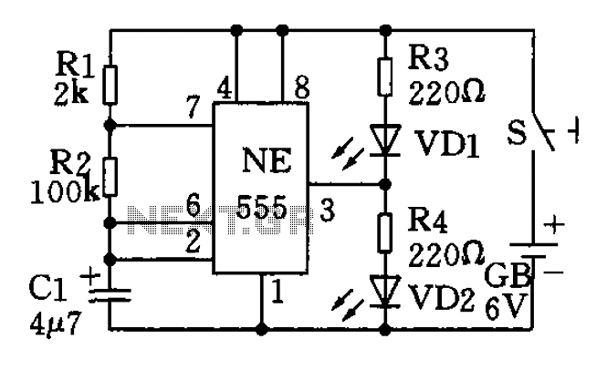 The use of low frequency oscillation base 555 circuit made flashing light circuit Circuit II - schematic