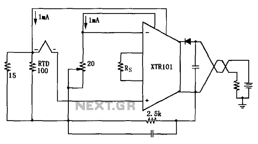 Thermocouple cold junction compensation RTD has XTR101 Input Circuit - schematic