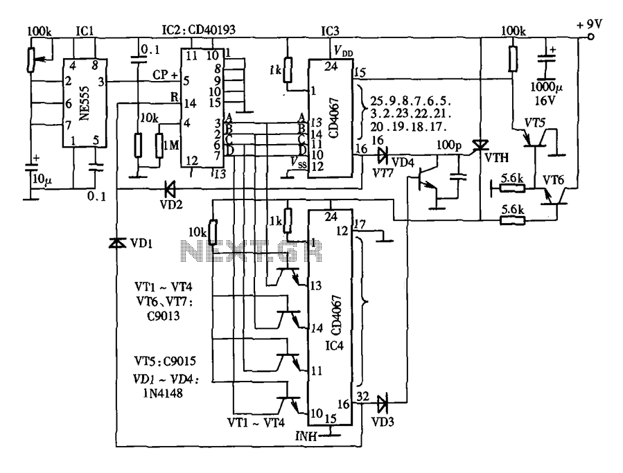 Thirty light water CNC circuit diagram CD4067 CD40193 NE555 - schematic