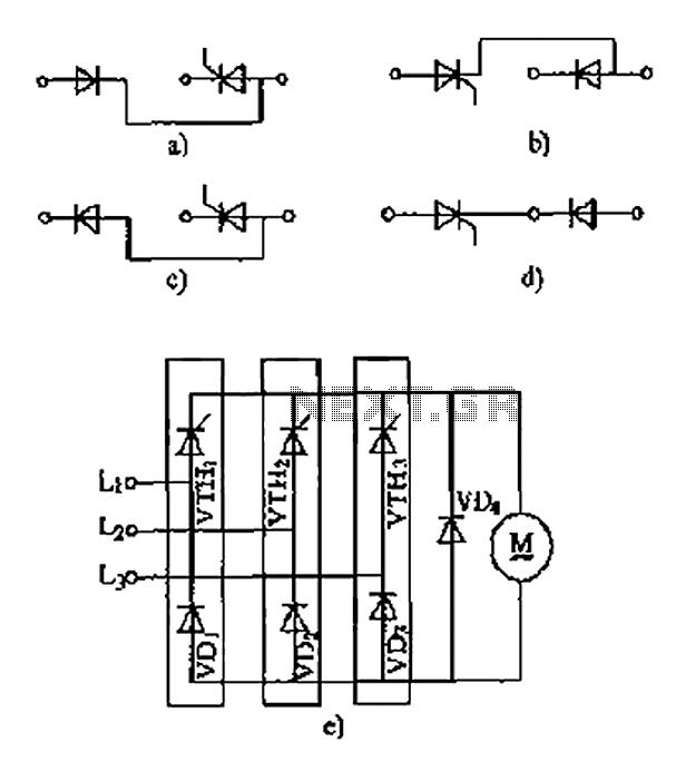 Thyristor - linking arm rectifier module three-phase half-controlled bridge rectifier circuit - schematic