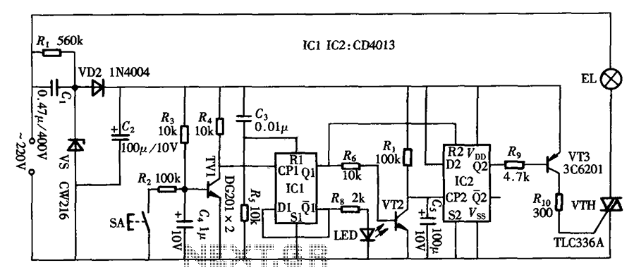 Touch delay switch circuit diagram CD4013 composed - schematic