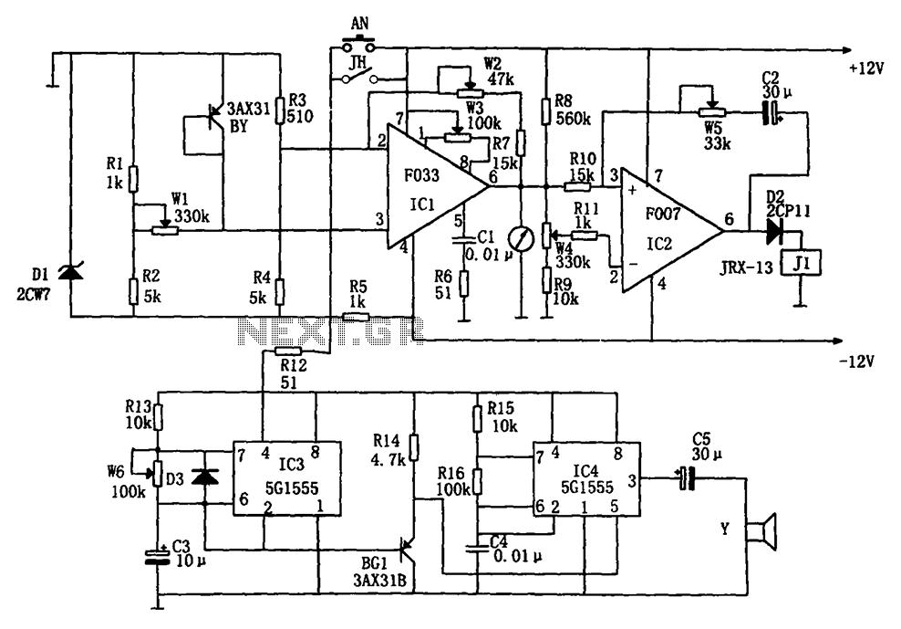 Treasury temperature measurement alarm circuit diagram F007 5G1555 F033 - schematic