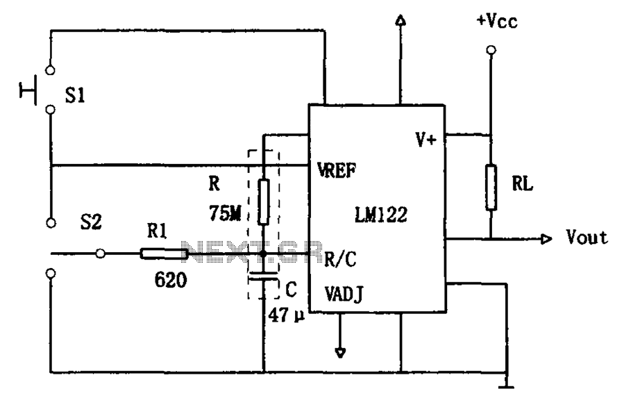 Use of one hour LM122 timer circuit - schematic