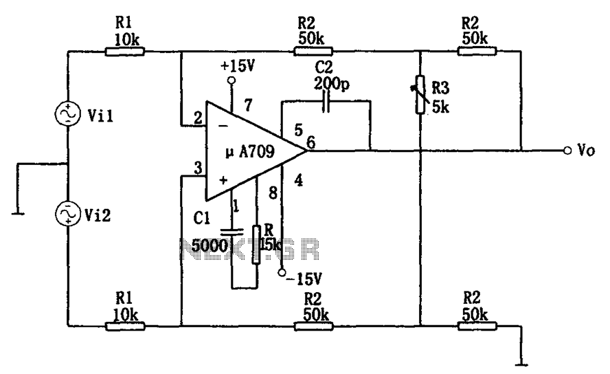 other circuits > variable gain differential amplifier circuit, circuit diagram