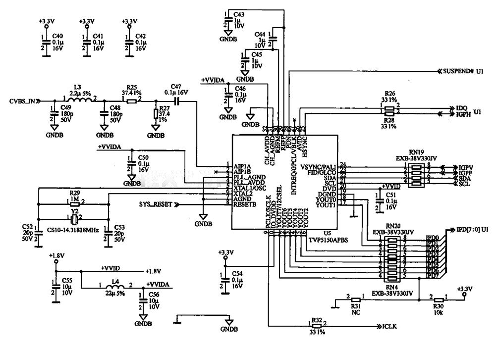 External audio spectrum display circuit diagram - schematic