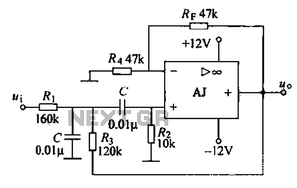Voltage-controlled voltage source second order band-pass filter circuit - schematic