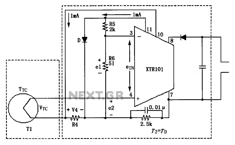 XTR101 thermocouple input circuit diagram - schematic