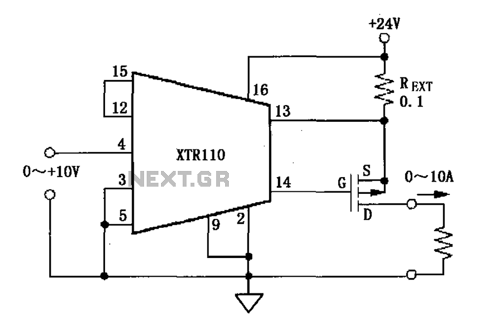 XTR110 voltage - current converter circuit diagram - schematic