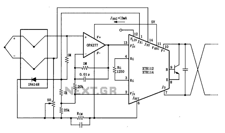 XTR112 114 thermocouple measuring circuit diagram of a loop - schematic