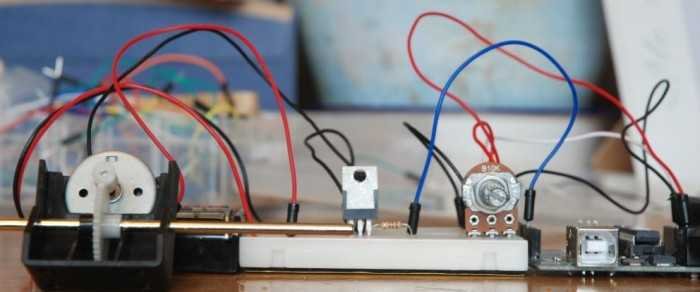 Control the speed of a DC motor with a potentiometer with an Arduino board - schematic