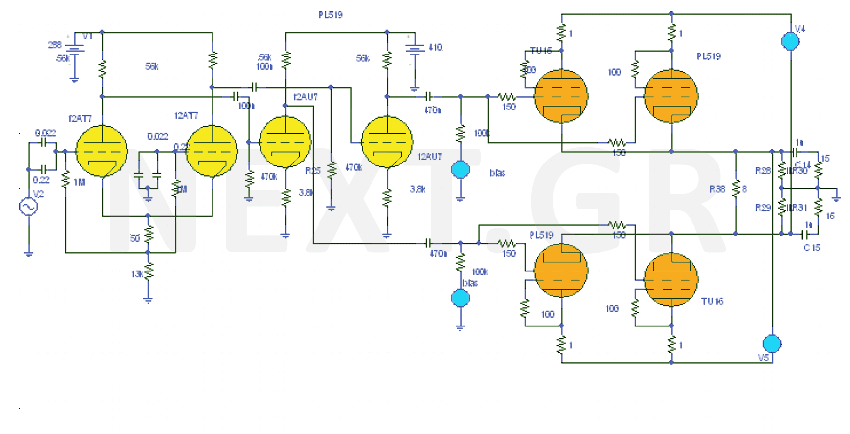 High Fidelity Valve audio Amplifier 40W - schematic