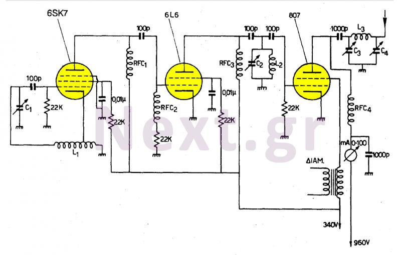 50W Tube-Valve SW transmitter - schematic