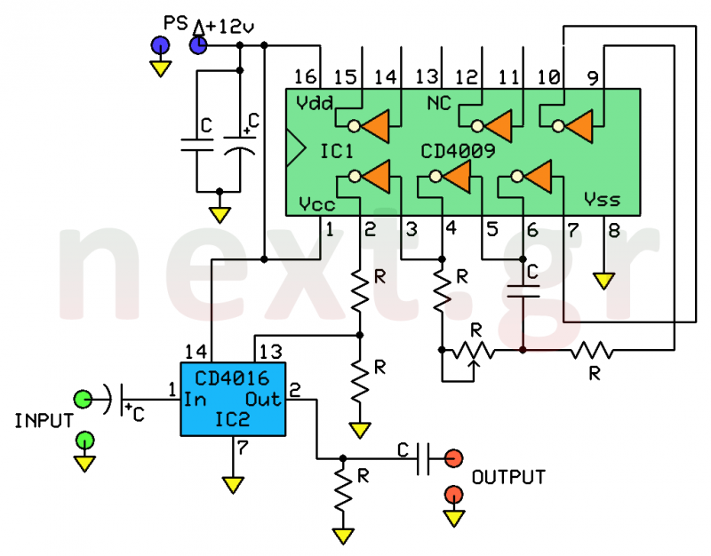 audio > musical circuits > human to robotic voice changer circuit, Wiring circuit